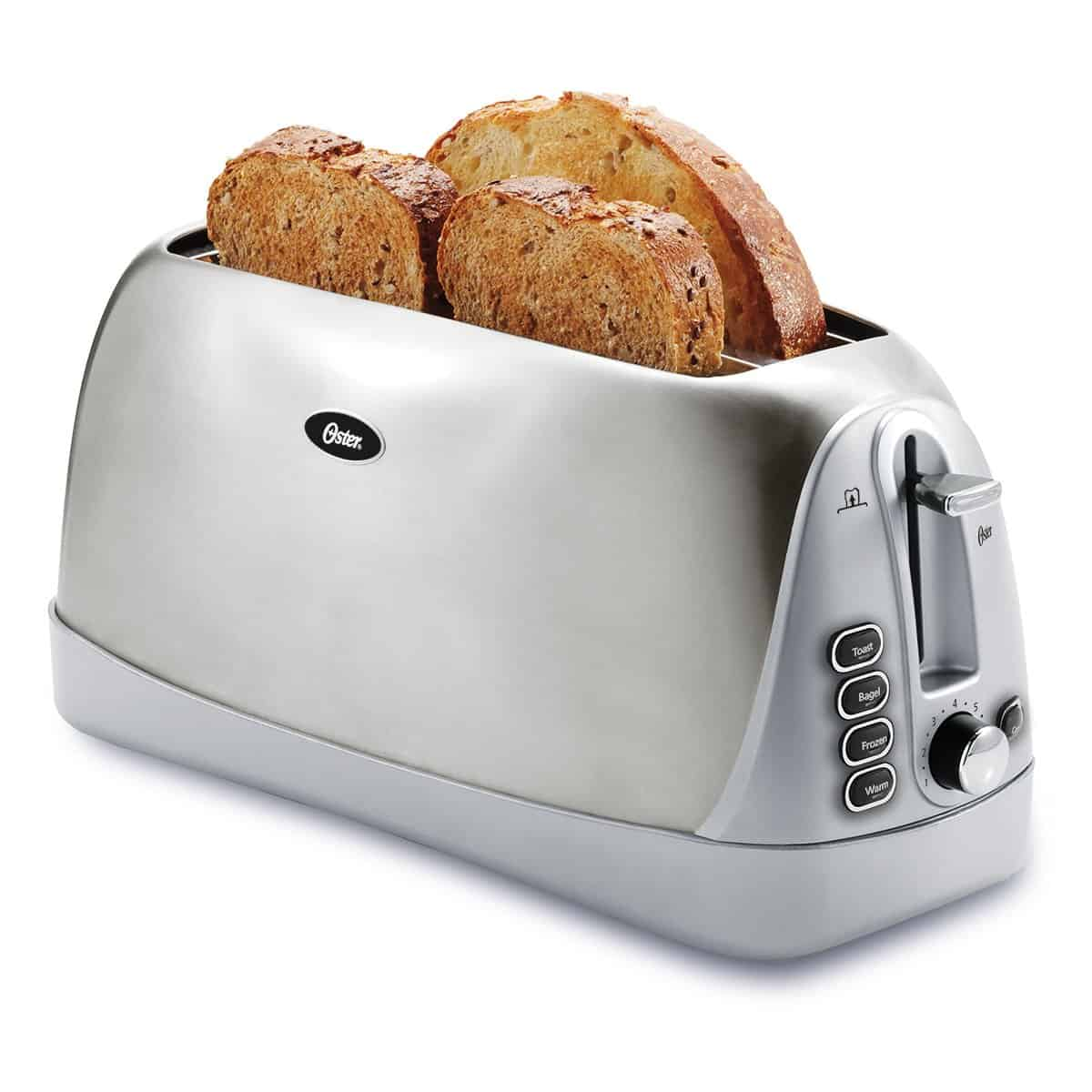silver 4 slice toaster with bread