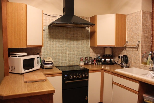 view of kitchen with dim lighting